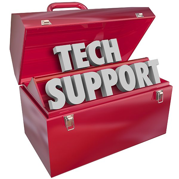 Tech Support words in 3d letters in a red metal toolbox to illustrate an information technology assistance or help role